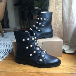 BRAND NEW! Black Boots with Pearl Detail